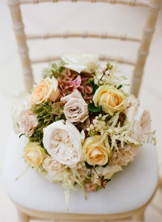 Vintage bouquet, garden roses, Gaynes park