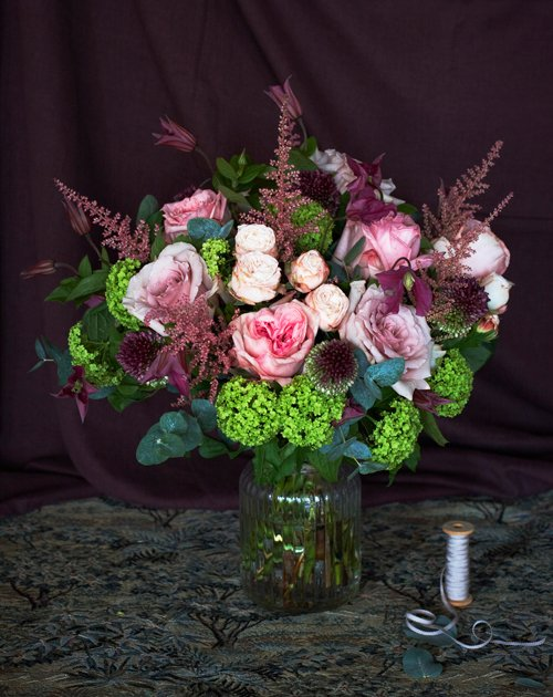 Rose bouquet with spray roses, pretty astilbe, bullet alliums & viburnum snowball